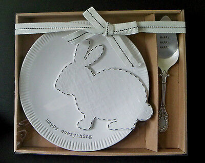 Mud Pie Dessert - New MUD PIE Bunny Dessert Set /  Plate w/ Server /  White Easter Rabbit CERAMIC