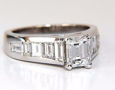 GIA Certified 2.31ct Emerald Cut Baguette Diamonds ring 14kt.+
