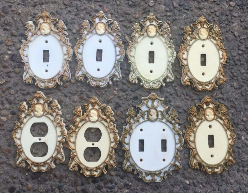 Vintage Light Switch Plate Cover Plug Ivory Gold Cameo Lot Single Duplex Outlet