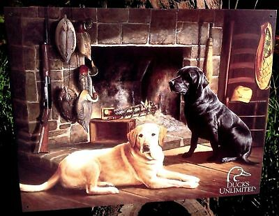 Ducks Unlimited Hunting Dog Metal Ad Sign Lab Rustic Cabin Picture Garage Gift