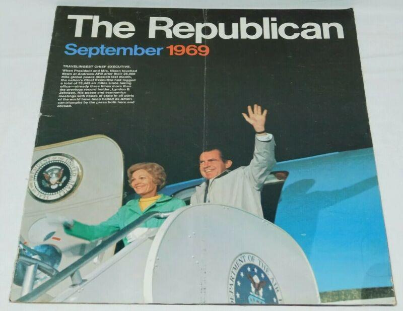 "The Republican September 1969 political party magazine NIXON 11x12.75"" 24pg RNC"