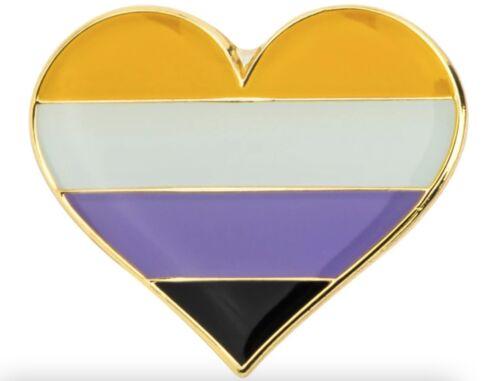 "Non-Binary Heart 1"" Pride Lapel Pin Gay Lesbian Pride LGBT Hat Tie Tack"