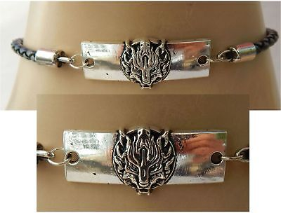 Wolf Choker Necklace Silver  Handmade Adjustable Black Accessories Women Chain