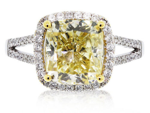 Hand-carved GIA Fancy Yellow 2.30 Carat Cushion Cut Diamond Engagement Ring 18k