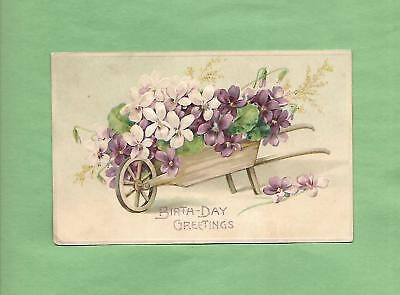 FLOWER WHEELBARROW On Gorgeous Vintage 1908 German-Made BIRTHDAY Postcard