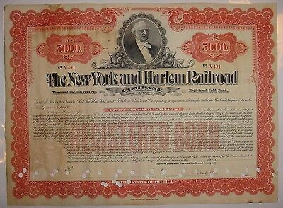 $5,000 New York & Harlem Railroad Company Bond Stock Certificate Central