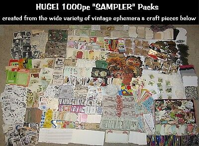 HUGE!1000pc Lots~Vtg Collage/Altered Art Mix~FUN!Scrapbook Junk Journal Ephemera
