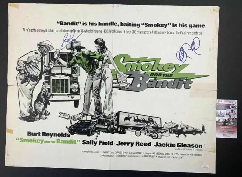 BURT REYNOLDS & SALLY FIELDS signed 22x28 Original Poster SMOKEY AND THE BANDIT