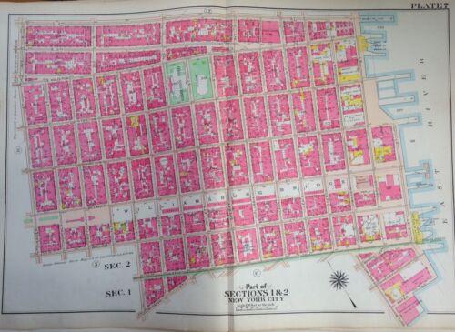 ORIGINAL 1908 G.W. BROMLEY LOWER EAST SIDE WILLIAMSBURG BRIDGE ATLAS MAP
