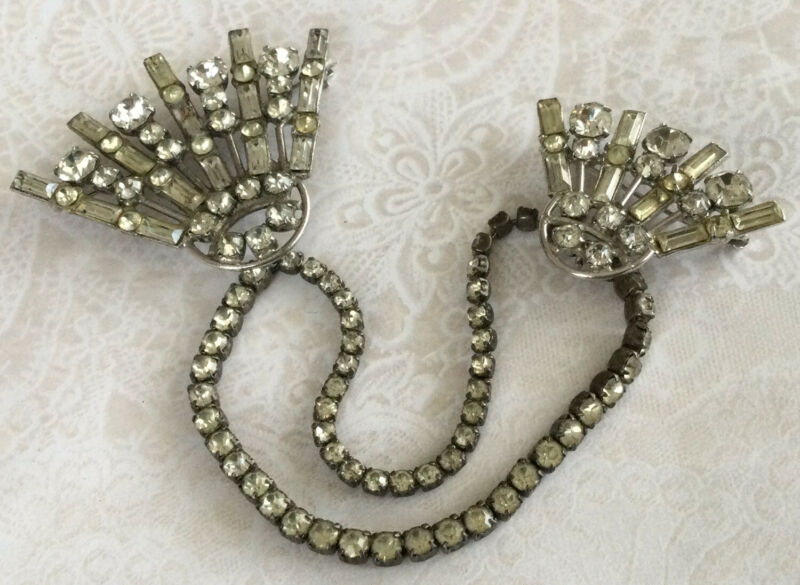Gorgeous Rare Antique KRAMER Sterling Silver 925 Rhinestone Sweater Clips BE156