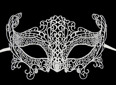 Mask Venice Lace Burano-Wolf Civet Carnival- White Snowflake - 336