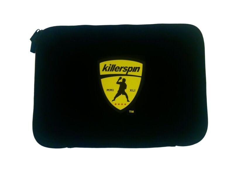 Killerspin JETBlack Table Tennis Paddle with Black Sleeve Racket Case, Black/Yellow 825509100514