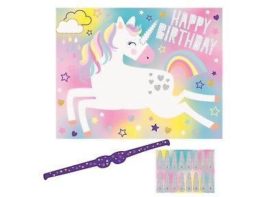 """UNICORN"" PIN THE HORN Happy Birthday Party GAME For 16 People Fairytale"
