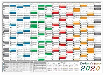 Rainbow Wandkalender DIN A0 2020 gerollt Wandplaner inkl. Ferien und Feiertage ()