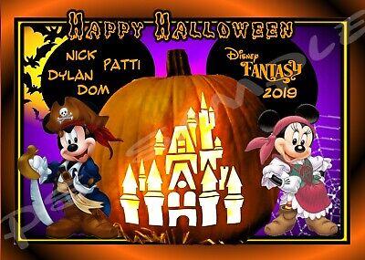 Disney Castle Halloween (4x6 Disney CUSTOM Cruise Door Magnet - HALLOWEEN PUMPKIN)