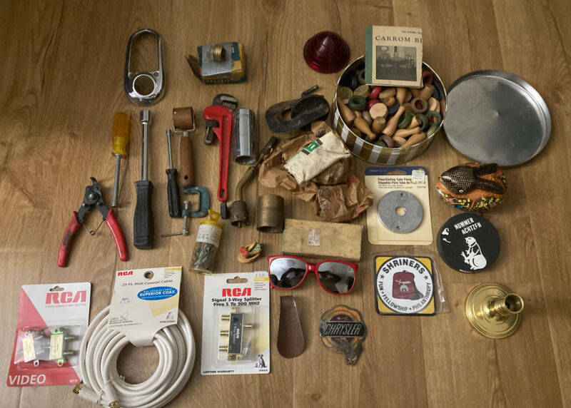 Junk Drawer Miscellaneous Mixed Box Lot Vintage Parts Tools Chrysler Enamel