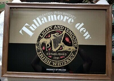 "Vintage Tullamore Dew Irish Whiskey Sign/Mirror 26"" x 18"""
