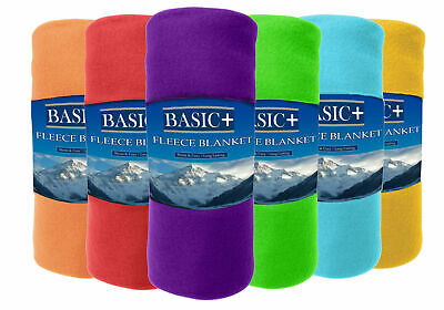 Soft Fleece Throw Blankets 50 x 60 Wholesale Lot of 24, Assorted Solid Colors