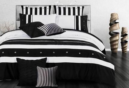 Queen Size Black White Striped Quilt Cover Set(3PCS)