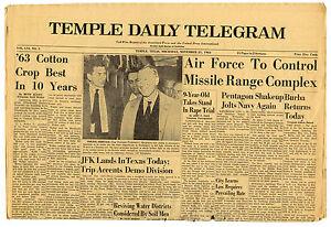 JFK-Lands-in-Texas-Today-Newspaper-John-Kennedy