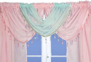 Crystal Beaded Voile Curtain Swags All Colours - Pelmet Valance Net Curtains