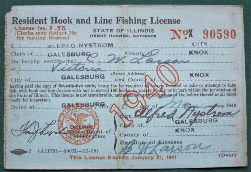 1940 Illinois Fishing License