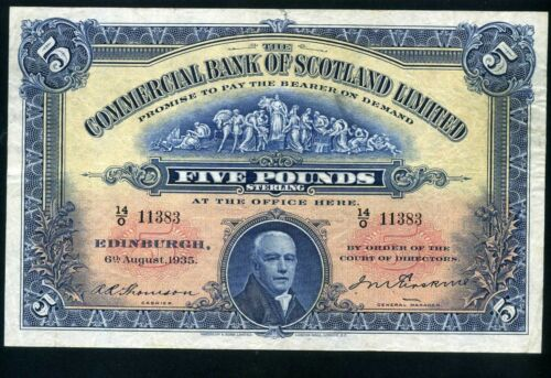 Commercial Bank of Scotland 5 pounds 1935 - VF+