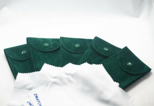 Pack of 5 Green Velvet Watch Pouch w/ Premium Microfiber Fits Rolex and Others