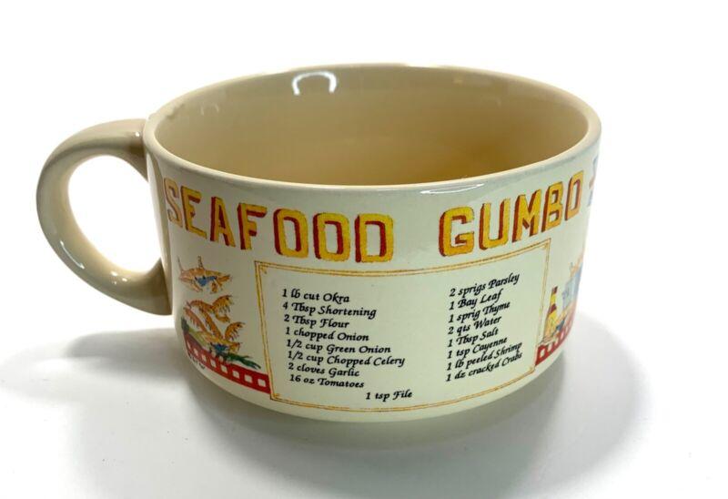 Seafood Gumbo Recipe Mug Handled Soup Bowl; Cajun Creole Shrimp Gumbo; 1990