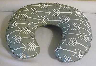 Nursing Pillow  Cover, Boppy Cover, Grey/White Arrow Print, Grey minky backside