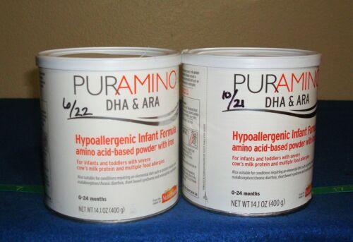 2 New Cans Puramino Formula -14.01oz Cans- Expire June 2022 & October 2021
