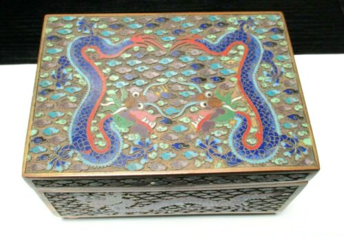 LARGE CHINESE CLOISONNE OPEN ENAMEL DRAGON HUMIDOR BOX