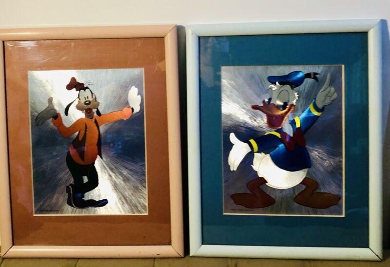 Vintage Pair Disney Donald Duck & Goofy Framed Pictures Shiny Foil, 12 X 15