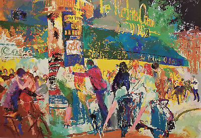 LeROY NEIMAN collectable Post Card - LEFT BANK CAFE - 1987