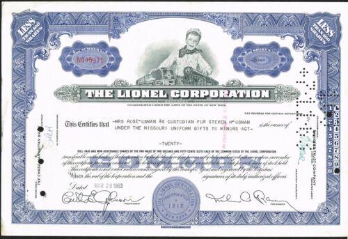 USA LIONEL CORPORATION  bond/stock certificate HOBBY TRAINS