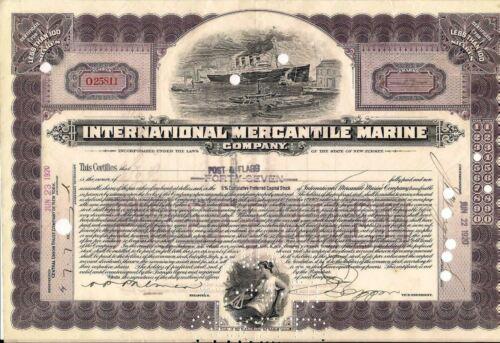 International Mercantile Marine stock certificate 1917-1920