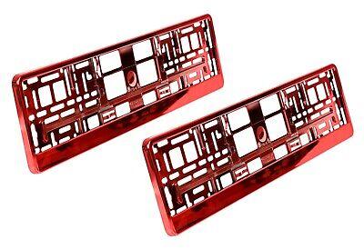 2 x Kennzeichenhalter  ROT Metallic Chrom Nummernschildhalterung Auto