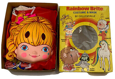 VTG Collegeville Rainbow Bright 1980's Halloween Costume Mask & Box