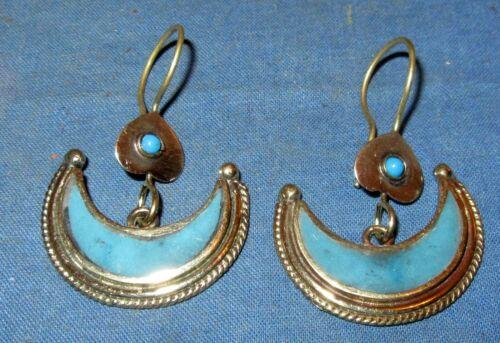 "Earrings Crescent Turquoise Afghan Kuchi Alpaca Silver 1 1/2"""
