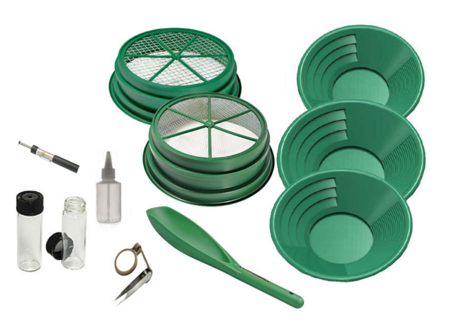 11Pc Gold Panning Kit with Pans Scoop Vials Mesh Sifting & items