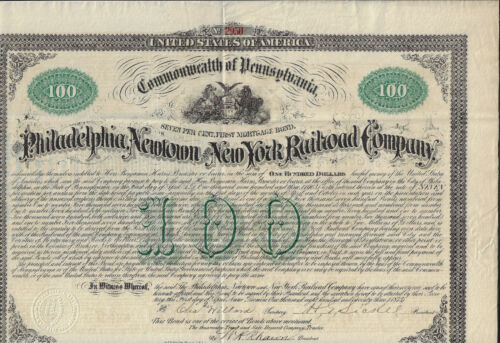 PENNSYLVANIA 1873 Philadelphia Newtown & New York Railrod Bond Stock Certificate