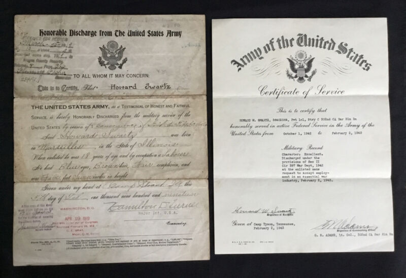 WWI USA Army Honorable Discharge Enlistment Record WWII Certificate of Service