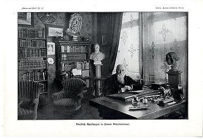 Der deutsche Schriftsteller Friedrich Spielhagen Histor. Kunstdruck u. Text 1909