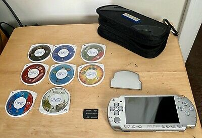 SONY PSP-2001 Video Game Player Console - Silver + Games and Memory! PLEASE READ