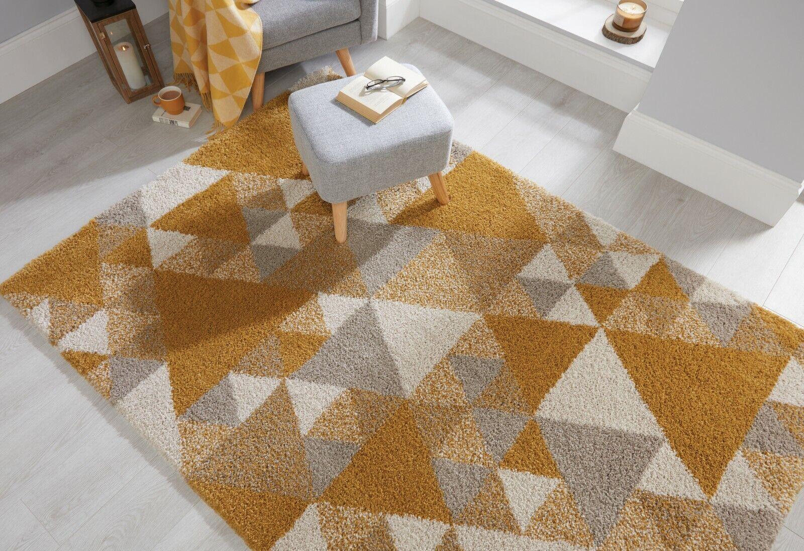 details sur dakari nuru geometrique ocre jaune creme gris poilu petit grand tapis chemin