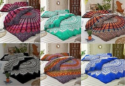 - Queen Size Mandala Printed Cotton Flat Bed Sheet Bedspread Boho Bedding Throw