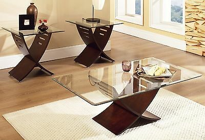 Modern Table Set 3 Piece Wood Glass Top Coffee Cocktail End Accent Livingroom (3 Piece Wood Coffee)