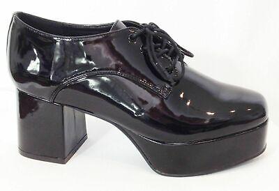 Saturday Night Fever Shoes (Fancy Dress Saturday Night Fever - Black Retro 70's Disco Platform)
