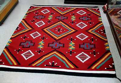 "Mint Condition New Navajo Germantown Revival Rug 81"" x 60"" c.1990 Classic Motifs"