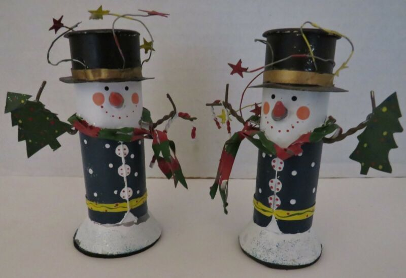 "VTG SET OF 2 METAL SNOWMEN CANDLE HOLDERS - HOLIDAY - 4 1/4"" T"